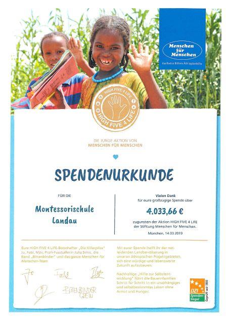 Spendenurkunde Sommerfest 2019